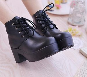 New boots Women Platform Shoes lace up Pu leater shoes White Black Women Chunky Heels Hot Sale Woman 35-40