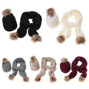 Sciarpa Inverno Cappello donna Set Rhombus Knit Pompon sfera Cuffed Beanie scialle 2019 New Fashion