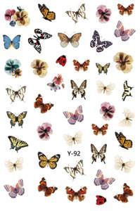 Hot Sale Top seller Y series 7 types Butterfly Nail Stickers 3D Nail Art Sticker Decals Y88-Y94 6.0*9.0CM