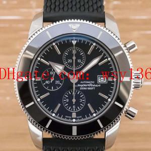 Роскошные высокое качество мужские дата часы Superocean Heritage II A1331212 BlackDial и резинкой Кварцевые наручные часы мужские
