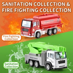 01:55 Mini Alloy Model Car Toy Fire Truck Sanitation Truck Rescue veicolo del fumetto Auto Per Ragazzi regalo 08