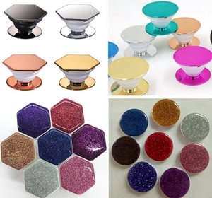 Hexagon Circular Round Plating Glitter Style Electroplate Universal Cell Phone Holder Grip Lazy Expandable Phone Holder Stand With OPP Bag