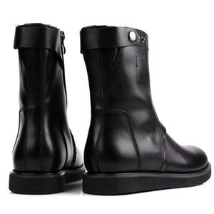 Uomo di alta qualità BOW GENUINO PELLE Stivali in pelle flat Spessa Appartamenti Motor Motor Shoes With Button Fashion Mid-Calf Botas BOTAs Calzature maschili