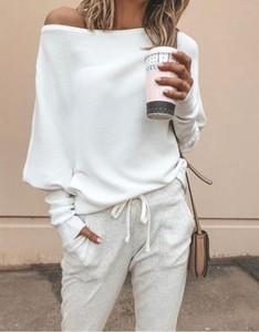 spalla maglione donne sexy fuori dalla manica pipistrello Pullover Jumper 3XL 2019 Harajuku allentato casuale manica lunga Solid Maglione
