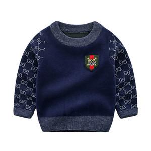 Retail Round Neck de haute qualité tout-petits garçons Pull Printemps Automne Garçons Bébé Pull Manteau en laine pour les enfants 3-24 mois
