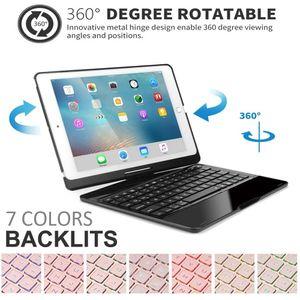 7 Color Backlit Wireless Bluetooth Keyboard Case 360 Degree Rotate Folio Slim Smart Auto Sleep Wake for iPad Air3  Pro 10.5
