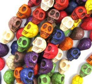 1 chaîne 40pcs / lot 10mm couleurs mélangées pierre naturelle perles Turquoise SKULL perles en vrac pour la fabrication de bijoux de bricolage