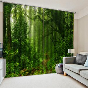 Custom green forest curtains Window Blackout Luxury 3D Curtains set For Bed room Living room