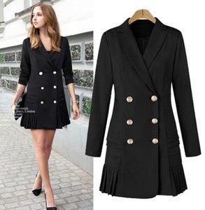 Fashion New Windbreaker women's lapel long-sleeved double-breasted pleated hem dress style mid-length suit trench coat jacket COAT Outerwear