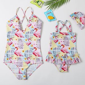 2020 New Beachwear Mum and Me Swimwear One Piece Long Thong Monokini Flamingo Swimsuit for Girl and Women Family Swimsuit