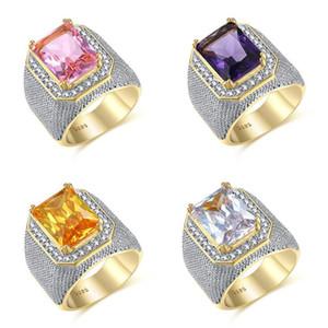 Hip Hop Vintage Fashion Jewelry 925 Sterling Silver&Gold Fill Princess Cut Big White Topaz CZ Diamond Party Women Men Wedding Band Ring Gift