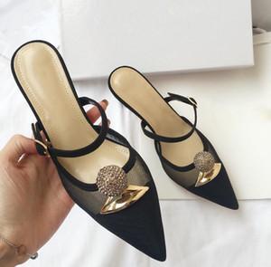2019 été nouveau mot de dentelle noire avec une aile ajourée pointu talons hauts sandales femmes