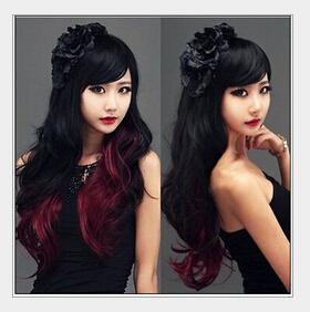 Черный градиент бордовый длинные волнистые волосы женщина пушистые девушки мода парик оптом термостойкие Ladys WIGS Peluca Products
