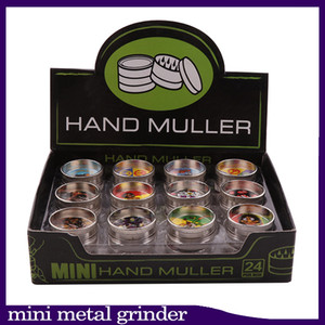 Tobacco Grinder 2 layer Mini Metal Grinders hand muller for Dry Herb Grinder 30mm Diameter Hard Top Small Herbal Grinder 24 pcs lot