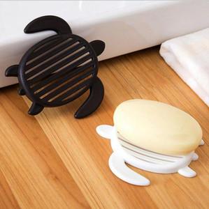 Pratos de sabão Tartaruga bonito recipiente Titular Drenagem Soap Box Plastic Tray dos desenhos animados plataforma de armazenamento do chuveiro do banheiro Black White Opcional XH1201