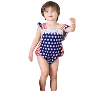 Infant  baby girl Girls 4th of July Stars Striped Patriotic Backless Romper Bodysuit baby girl clothes ropa #P40US