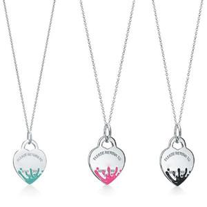 Подвески ожерелья ювелирных изделия женщины 925 Silver Всплеск Сердце Tag Charm ожерелье цепь Вернуться ЛЮБОВЬ лидирующих ювелирных изделий