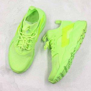 Huarace Run فائقة الأداء الأخضر الفلورسنت أحذية الجري رجل إمرأة تشغيل الترا مصمم الأزياء الفضة المدربين حذاء رياضة حجم 36-45