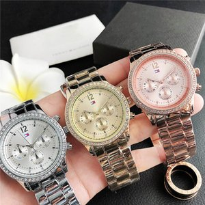 Fashion Brand wrist watch for women Girl 3 Dials crystal style Steel metal band quartz watches TOM 32