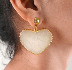 European and American Fashion Jewelry Retro Heart-Shaped Earrings Female Personality Love Earring Resin Heart Earrings