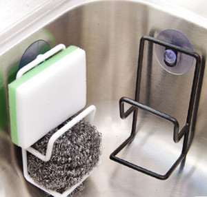 Double-deck Iron Trough Sponge Drainage Rack With Suction Cup Kitchen Bathroom Sink Towel Soap Storage Holder