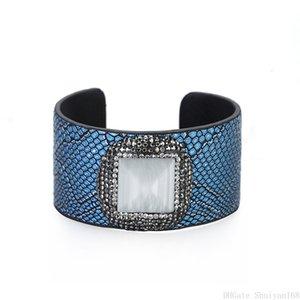 Bracelet manchette en cuir ouverte Cat Eye Pierre strass Perle Charm large imprimé serpent Enveloppé Bangle pour les femmes bijoux vintage de cadeau de Noël