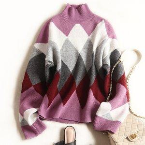 N14 2019 Осень Зима Multicolor плед печати Вязаная Лоскутная пуловеры свитер с длинным рукавом Экипаж шеи Мода Свитера X10F368