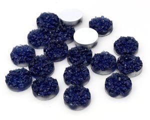 Yeni Moda 40pcs 12mm Mavi mürekkep Renkler Druzy Doğal Stil Düz geri Reçine Cabochons İçin Bileklik Küpe aksesuarları-V4-28 cevher