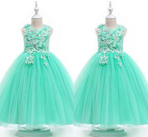 Menthe verte robe de bal Fleur Robes 2020 Dentelle 3D Fleurs perles Cap manches Jewel filles robe de bal Pageant enfant en bas âge Première Communion robe