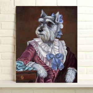 Handbemalte Thierry Poncelet Ölgemälde Hauptdekor-Wand-Kunst auf Leinwand Madame Schnauzer 24x30inch Unframed