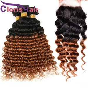 A Two Tone Medium Auburn Brazilian Virgin Ombre Weave Deep Wave 3 Bundles With Lace Closure Colored T1b 30 Blonde Curly Human Hair Exte