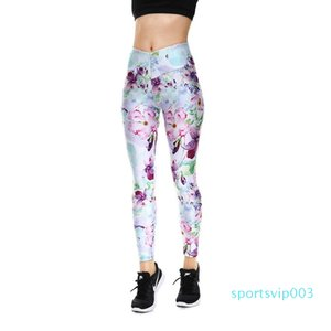 2017 New Arrival Purple Flower Lady's Elastic Pants for Yoga Jogging Workout Pants Sport Fitness Breathable Clothing