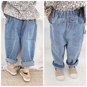 2019 Fashion Spring Baby Boys Girls Jeans Children Kids Denim Pants with Pockets Girls Full Length Harem Pants