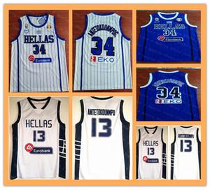 Мужская Дуэйн Эллас Яннис 34 Antetokounmpo баскетбол Джерси синий белый дешевые 13 Antetokounmpo команда Греция старинные рубашки хороший размер S-XXL