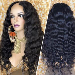 Capelli U Parte parrucche dell'onda profonda Acconciature Glueless capelli peruviani upart parrucca per donne di colore dell'onda profonda U Parte parrucche Virgin dei capelli