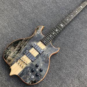 Collo attraverso il corpo in ebano pickup attivi Burst Maple Top 4 Strings Bass Guitar