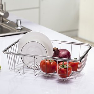 Kitchen Storage Rack Stainless Steel Draining Basket Rack Adjustable Shelf Dish Washing Holder for Dinnerware Vegetable Fruit LZ0403
