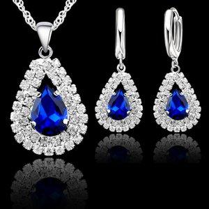 2020 Fine Water Drop Trendy Jewelry Sets 925 Sterling Silver Cubic Zirconia Fashion Jewelry Heart Austrian Necklace Pendant Earrings