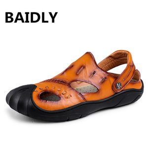 Brand Men's Casual Shoes Genuine Leather Sandals Men Flip Flops Breather Slippers Plus Size 38~46 Summer Sapato Masculino