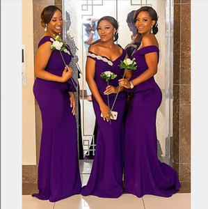 2020 African purple Mermaid Bridesmaid Dresses Off Shoulder Sweep Train Garden Plus Size Wedding Guest Evening Party Gowns Maid of Honor