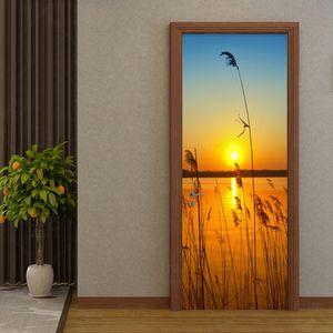 PVC Self-Adhesive Waterproof Door Sticker 3D Sunset Reed Sea View Wallpaper Living Room Kitchen Vinyl Door Decals Creative Mural
