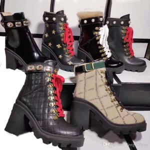여성 짧은 부츠 100 % 소 가죽 클래식 디자이너 럭셔리 레이스 꿀벌 여성 신발 가죽 높은 부츠 금속 패션 진주 마틴 부츠 굽