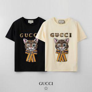 Womens Luxus Pailletten T-shirts Mädchen-Designer Cat Print Top Women Casual Outdoor-T-Shirt Jugend Art und Weise heiße Kleidung Marke Top 2020 New Style