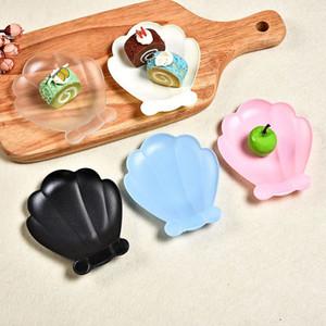 5pcs / set plástico disponible de Shell Vajilla Vajilla merienda de frutas placa de postre pastel de platos para la fiesta