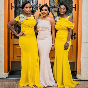 2020 Yellow One Spalla Bridamaids Abiti da sposa Nuziale Sudafricano Plus Size Mermaid Maid of Honor Abitazioni Lunghezza del pavimento