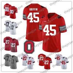 Ohio State Buckeyes # 27 Eddie George 36 Spielman 45 Archie Griffin 9 Johnny Utah 빈티지 레드 화이트 블랙 카모 NCAA 풋볼 저지