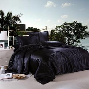 Jeefttby Textile 100% Soie Naturelle Literie Set avec housse de couette Taie Satin Linge de lit Queen Size Roi double