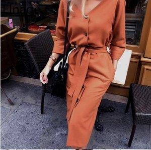 Elnage Sexy scollo a V autunno manicotto lungo delle donne del vestito delle signore Sashes pulsante casual Ufficio nuovo modo Midi Abiti Vintage 5A656
