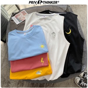 Privathinker 2020 Men Colorful Print Summer Tank Top Mens Harajuku Loose Gym Clothing Male Streetwear Fashion Tank Tops Oversize T200706