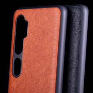 Case for Xiaomi mi Nota 10 CC9 pro Couro pele Litchi Vintage enseada TPU macio com silicone tampa de coque capa